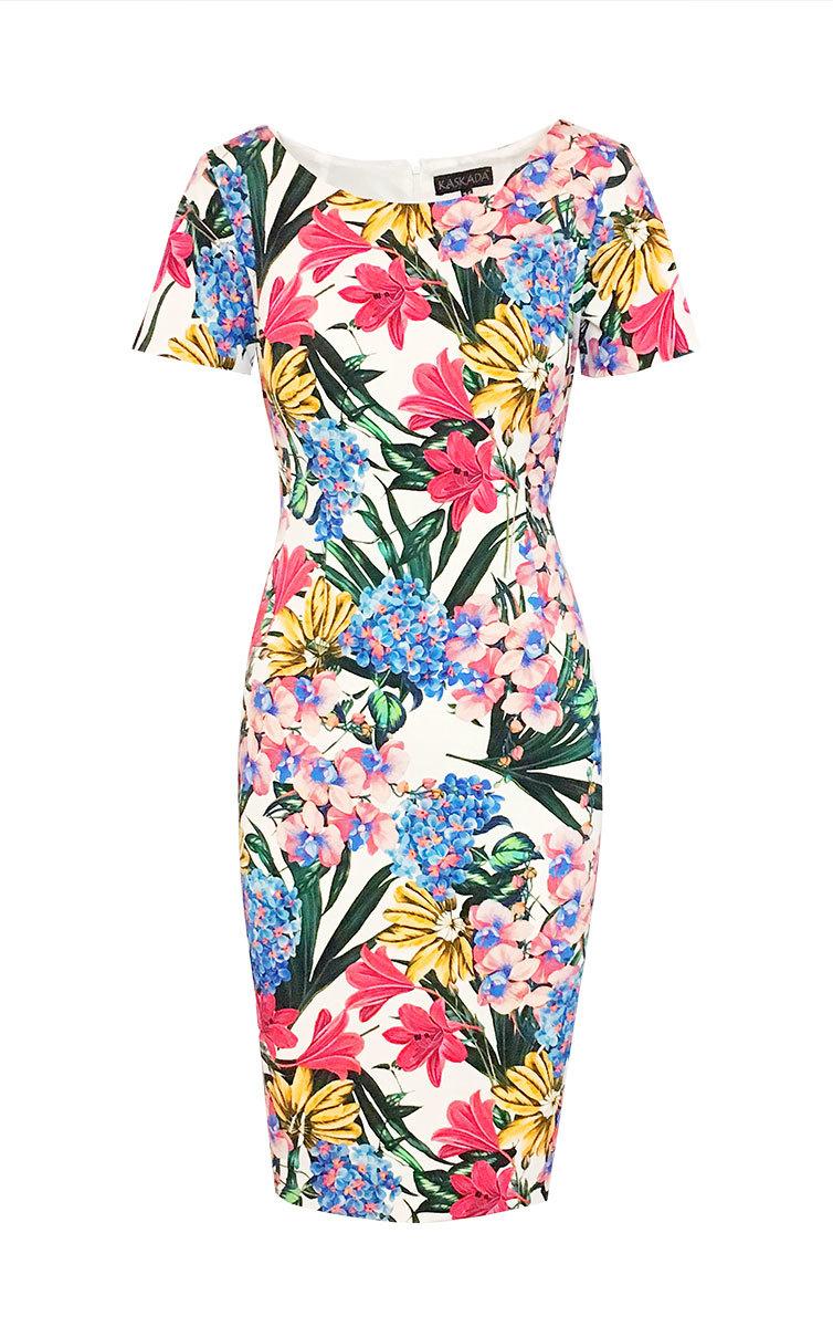 45959d0a7b Sukienka Melania wizytowa za kolano z rękawem w kwiaty